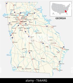 road map of the US American State of georgia - Stock Image
