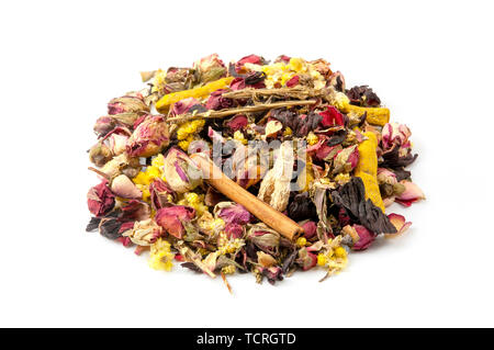 Turkish sultan herbal tea mix on a white background - Stock Image