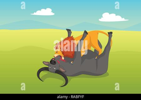 A vector illustration of Lion Attacking a Buffalo - Stock Image