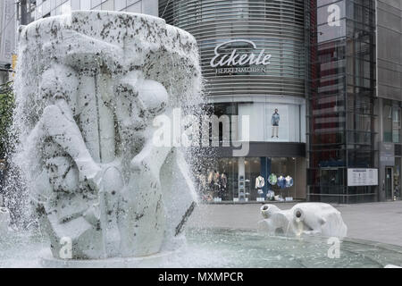 Brockhaus fountain and sculpture in city shopping centre, Zeil Street, Frankfurt am Main, Hesse, Germany - Stock Image