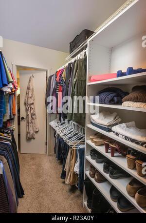 Inside Large Walk In Closet, USA - Stock Image