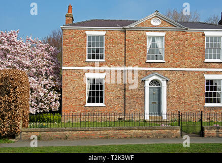 Georgian house, in the village of Melbourne, East Yorkshire, England UK - Stock Image