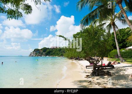 Beautiful Leela Beach near Cocohut village in Phangan island, Thailand - Stock Image