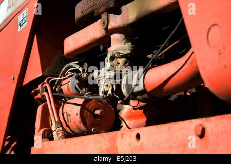 Close up of a tractors motor - Stock Image
