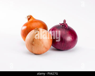 three onions on a white background - Stock Image