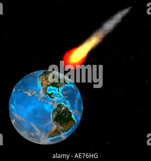meteor over america - Stock Image