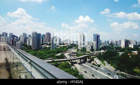High Angle View Of Cityscape Against Sky - Stock Image