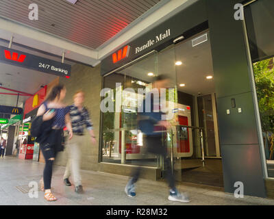 Pedestrians walk past a Wespac bank branch in Rundle Mall in Adelaide, South Australia, Australia. - Stock Image