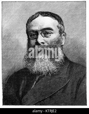 Portrait of Sir Walter Besant, 1836 - 1901, English novelist and historian. Black and white engraving from aphotograph - Stock Image