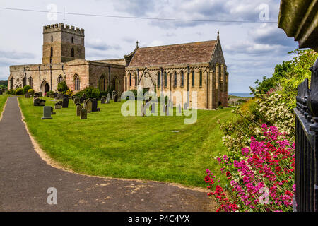 Parish Church of St Aidan, Bamburgh, Northumberland. 2018. - Stock Image