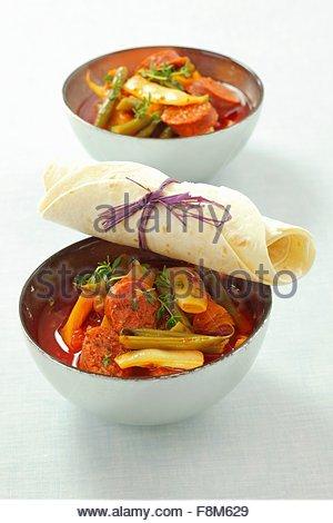 Chorizo and bean stew - Stock Image