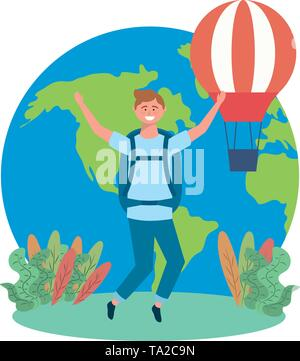 Tourist man design, Avatar bag travel trip vacation and traveler theme Vector illustration - Stock Image