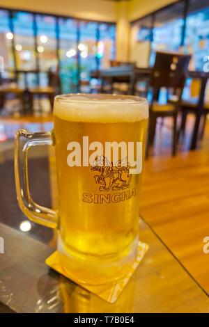 Pint of Singha beer, Sukhumvit, Bangkok, Thailand - Stock Image