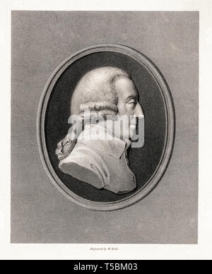 Adam Smith (1723-1790), portrait etching by William Holl, 19th Century, after James Tassie - Stock Image