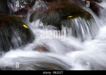 Water moving over river rocks at Glengarra Wood, Cahir, Tipperary - Stock Image