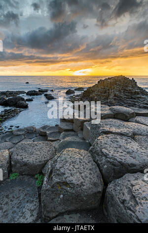 Giants Causeway at sunset, UNESCO World Heritage Site, County Antrim, Ulster, Northern Ireland, United Kingdom, Europe - Stock Image