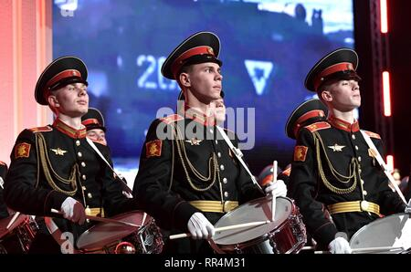 Moscow, Russia. 22nd Feb, 2019. A Russian Army band plays during a gala marking Defender of the Fatherland Day at the State Kremlin Palace February 22, 2019 in Moscow, Russia. Credit: Planetpix/Alamy Live News - Stock Image