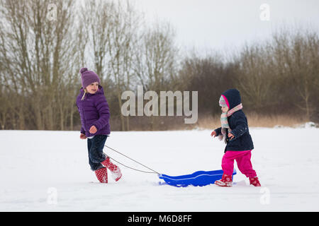 Pembrokeshire, Wales, 2nd March 2018. Children having fun sledding in the snow in Pembroke, Pembrokeshire, Wales, - Stock Image