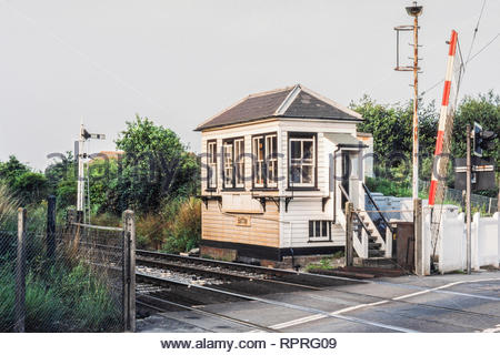 Battle Railway Station Signal Box, Battle, Sussex, UK – built in the early 1850s by the South Eastern Railway on the Tonbridge to Hastings line – This signal box ceased operation  in March 1986 and was later demolished – 1980s (1984) - Stock Image