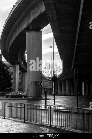 Glasgow, Scotland, UK - January 9, 2011: Concrete flyovers at the intersection of the M8 motorway and the Clydeside Expressway at Anderston in central - Stock Image