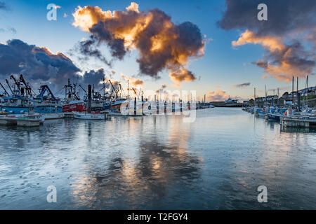 Newlyn, Cornwall, UK. 2nd April 2019. UK Weather. Early morning showers over the harbour at Newlyn. The forecast for Cornwall for the day is a mix of sunshine and wintry showers. Credit: Simon Maycock/Alamy Live News - Stock Image