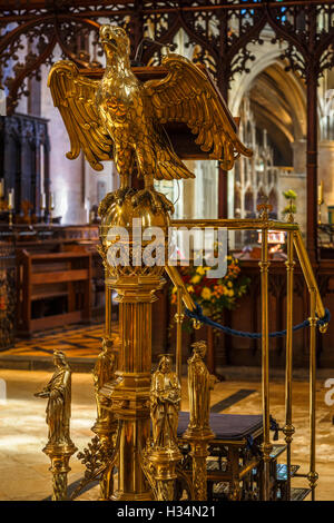 Church lectern in Tewkesbury Abbey. - Stock Image
