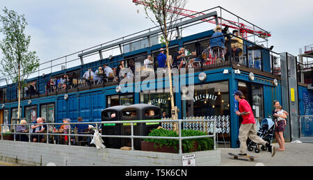 Outside Bristol temporary Wapping Wharf restaurants made from shipping containers - Stock Image