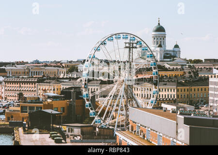 Helsinki city aerial view touristic central popular landmarks cityscape in Finland Europe travel - Stock Image