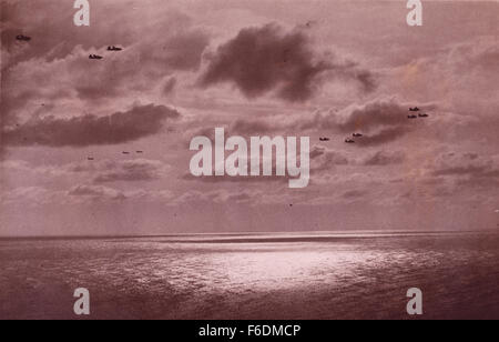 713. RAF bombers returning home to base after a mission 1943. - Stock Image