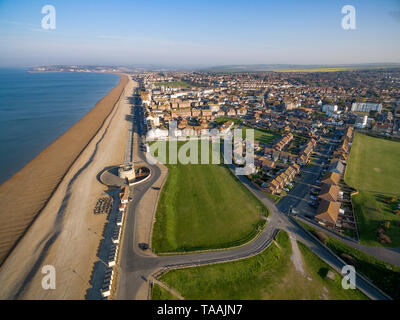 Aerial views of Seaford, East Sussex, UK - Stock Image