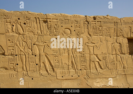 Stone Wall in the Temple of Karnak, Luxor, Egypt, Decorated with Hieroglyphics and Pictures of the Ancient Egyptian - Stock Image