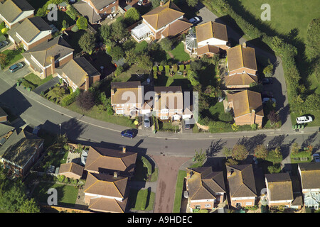 Aerial view of detached housing in small housing estate - Stock Image