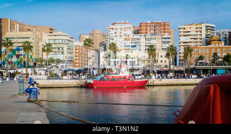 Sightseeing boat moored at Muelle Uno.  Malaga, Costa del Sol, Malaga Province, Andalusia, southern Spain. - Stock Image