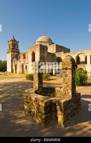 Mission San José San Antonio Texas tx tourist attraction national state landmark spanish colonial architecture - Stock Image
