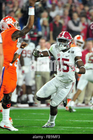 Glendale, AZ, USA. 11th Jan, 2016. Ronnie Harrison #15 of Alabama during the 2016 College Football Playoff National - Stock Image