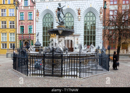 Neptune's Fountian Staue, Gdansk Poland - Stock Image