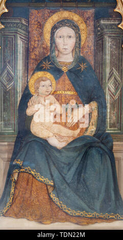 BELAGGIO, ITALY - MAY 10, 2015: The detail of medieval fresco of Madonna in church Chiesa di San Giacomo. - Stock Image