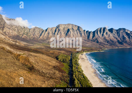 Drone imagery of Kogel Bay Beach an hour from Cape Town, South Africa, Africa - Stock Image