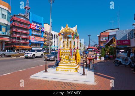 Sukhumvit Road, main street, Trat, Thailand - Stock Image