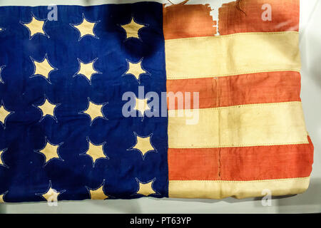 Tampa Florida Tampa Bay History Center centre inside collection exhibits 33 star Bull Run flag - Stock Image