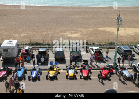 Brighton, UK - September 1 2018: A motorcar particiapnt seen ahead of the National Speed Trials on Maderia Drive in Brighton​ on 1​ September 2018.   The Pier, in the central waterfront section, opened in 1899 houses amusement rides as well as food kiosks. Credit: David Mbiyu /Alamy Live News - Stock Image