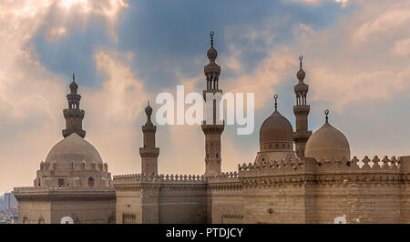 Minarets and domes of Sultan Hasan mosque and Al Rifai Mosque, Old Cairo, Egypt - Stock Image