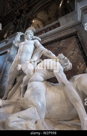 Statue of Theseus fighting a centaur, Kunsthistorisches Museum (Museum of Art History), Vienna, Austria - Stock Image