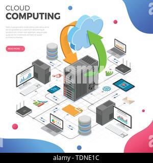Data Network Cloud Computing Technology Isometric - Stock Image