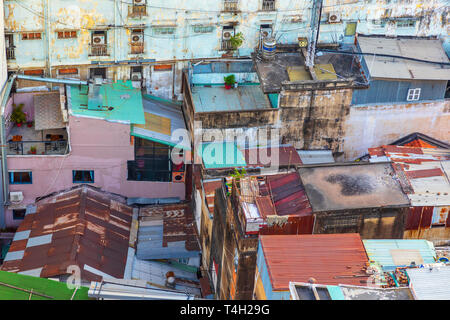 Colourful roofs of traditional Vietnam houses in Ho Chi Minh city centre, Saigon, Vietnam, Asia - Stock Image