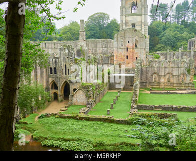 FOUNTAINS ABBEY,RIPON, ENGLAND, UK - SEPTEMBER 04, 2017: Cistercian Monastery grounds and ruins of Fountains Abbey - Stock Image