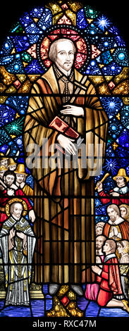 St. Ambrose Barlow, a Roman Catholic martyr who was executed in 1641, St. Oswald & St. Edmund Church, Ashton-in-Makerfield, Greater Manchester, UK - Stock Image