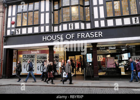 Pedestrians walking outside House of Fraser department store in Shrewsbury closing down sale sign in December 2018 Shropshire England UK  KATHY DEWITT - Stock Image