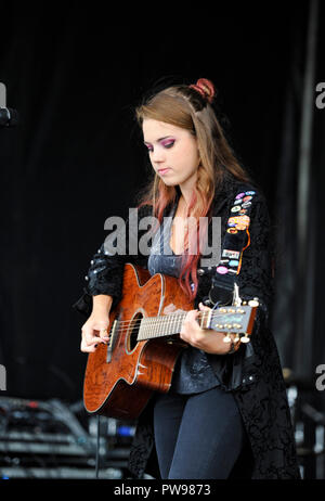 Brighton UK 14th October 2018 - Zoe Zori performing at this years Brightona Motorcycle event along Madeira Drive on Brighton seafront raising money for the Sussex Heart Charity Credit: Simon Dack/Alamy Live News - Stock Image