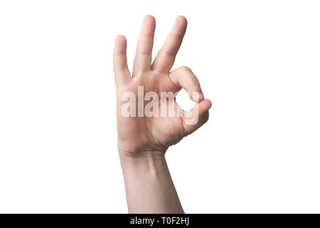 Hand mimic ok gesture (ring gesture) isolated on white background - Stock Image